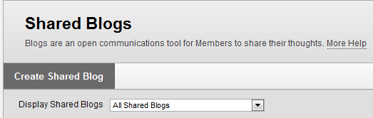 Create Shared Blog button